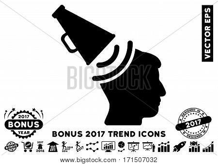 Black Propaganda Megaphone icon with bonus 2017 year trend clip art. Vector illustration style is flat iconic symbols white background.
