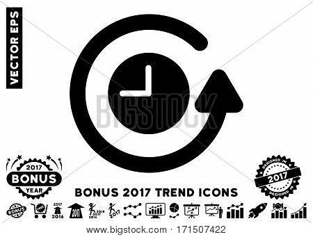 Black Restore Clock icon with bonus 2017 trend clip art. Vector illustration style is flat iconic symbols white background.