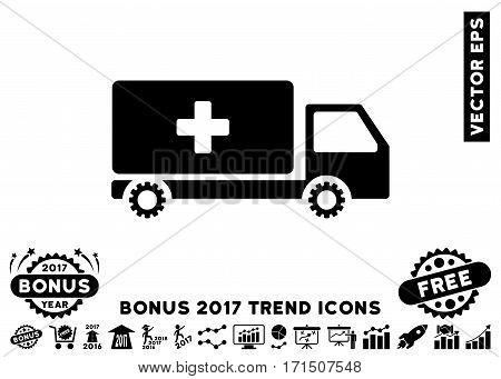 Black Service Car pictogram with bonus 2017 trend clip art. Vector illustration style is flat iconic symbols white background.
