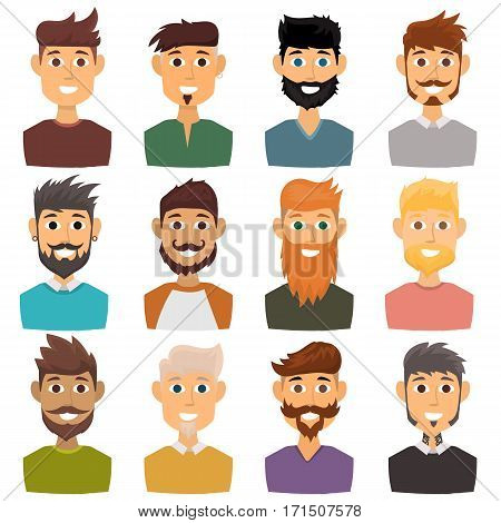 Businessman character of various expressions bearded man face avatar and fashion hipster hairstyle head person with mustache vector illustration. Style design gentleman adult smile expression.