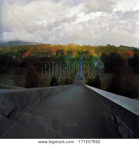High stair in tropic park with top view landscape. Cloudy sky and forest land. Autumn colored tree crowns. Concrete steps going down. Outdoor travel in Asia. Digital illustration in oil painting style