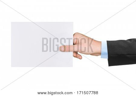 Paper card in hand isolated on white background