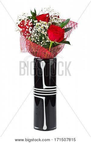 Roses in vase isolated on white background