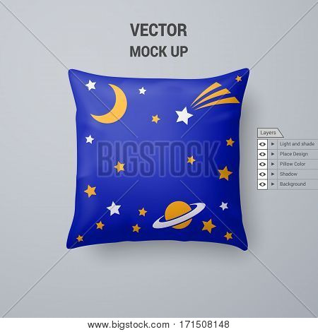 Blue Pillow with Space Pattern Isolated on White Background