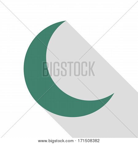 Moon sign illustration. Veridian icon with flat style shadow path.