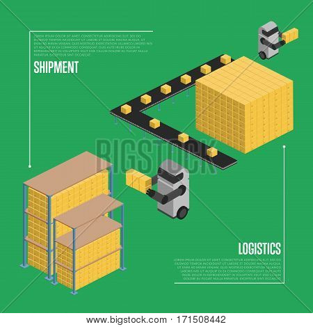 Shipment logistics isometric vector illustration. Automated warehouse interior with working robots. Freight automatic delivery, cargo transportation, logistics technology, cargo shipment concept