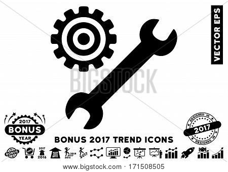 Black Service Tools pictogram with bonus 2017 trend pictograms. Vector illustration style is flat iconic symbols white background.