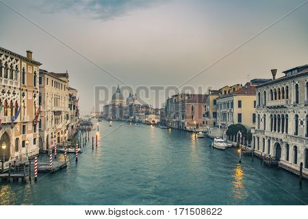 Grand Canal and Basilica Santa Maria della Salute during sunset, Venice, Italy