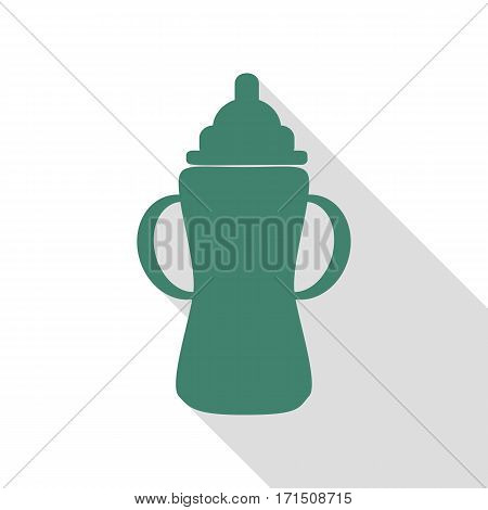 Baby bottle sign. Veridian icon with flat style shadow path.