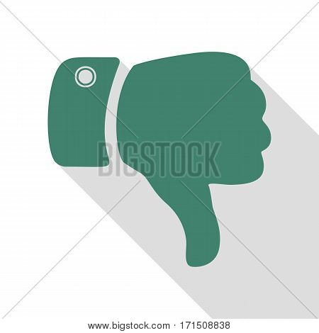 Hand sign illustration. Veridian icon with flat style shadow path.