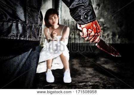Murderer Bloody Hand Holding Knife Smeared With Blood Ready To Attack And Kill His Victim., That Is