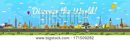 Discover the World poster with famous attractions vector illustration. Kremlin, Tower Bridge, Saint Sophie Cathedral, Colosseum, Leaning Tower of Pisa and other. World travel and tourism concept. Travel banner design. Best world travel landmarks.