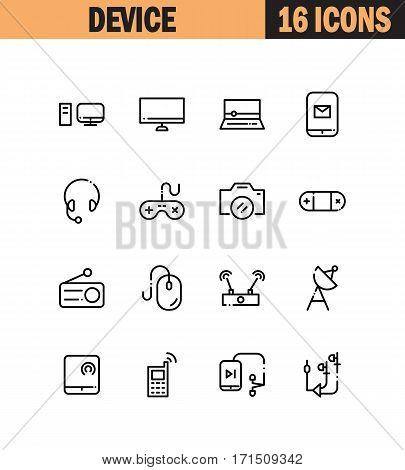 Device flat icon set. Collection of high quality outline symbols for web design, mobile app. Electronic vector thin line icons or logo.