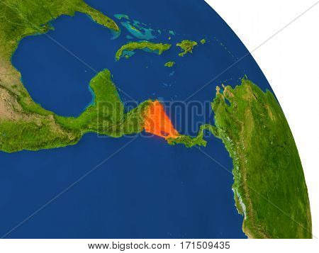 Map Of Nicaragua In Red