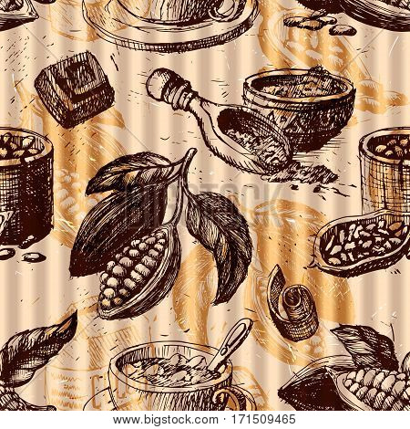 Seamless pattern with cocoa fruits monochrome chocolate texture for packaging, corporate identity, menu and hand drawn cacao ingredient vector illustration. Natural sweet plant organic sketch.