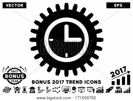 Black Time Options pictograph with bonus 2017 year trend pictograph collection. Vector illustration style is flat iconic symbols white background.