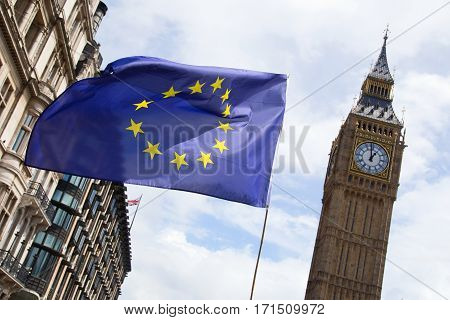 European flag flying outside parliament in London