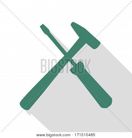 Tools sign illustration. Veridian icon with flat style shadow path.