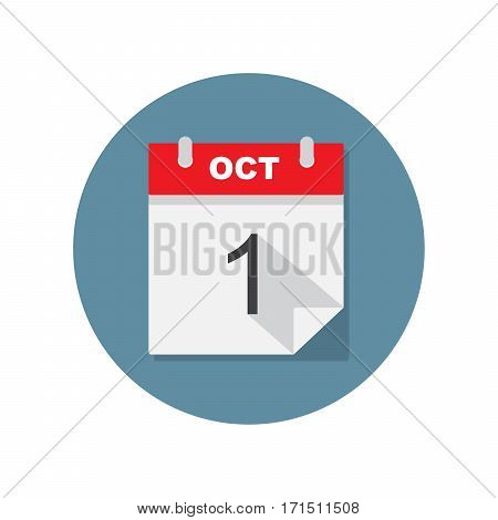 Oct 1 calendar icon. Vector illustration on circle blue background