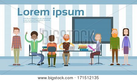 Business People Working Together Modern Coworking Space Building Interior Flat Vector Illustration