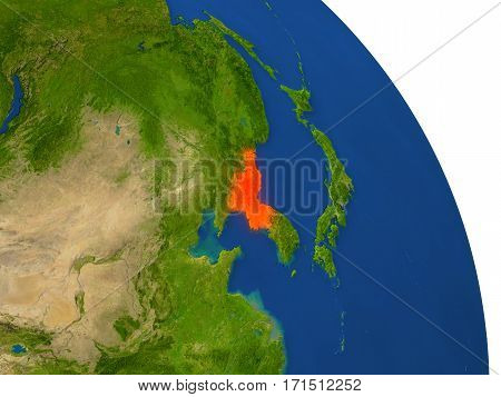 Map Of North Korea In Red