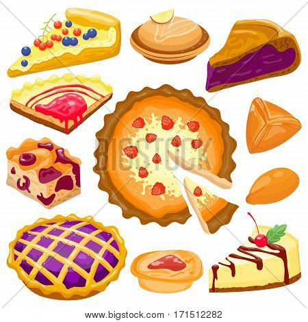 Collection of various cartoon cakes on white background. Fresh tasty dessert sweet pastry pie. Gourmet homemade delicious cream traditional bakery tart.
