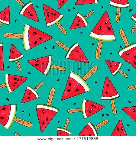 Seamless vector pattern of watermelon slices on a stick on a blue background
