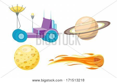 Astronomy solar system. Cute cartoon planets and sun astrology space vector. Colorful transportation star science planet collection. Spaceship cute technology travel rocket art.