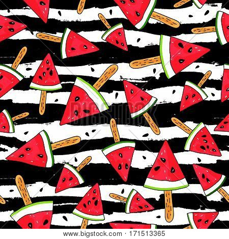 Seamless vector pattern of watermelon slices on a stick on a striped black-and-white background. Wrapping paper. Summertime concept