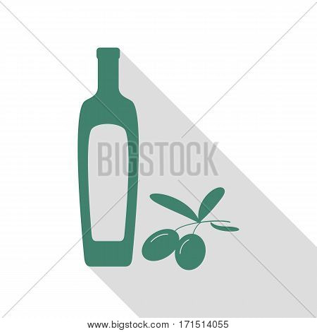 Black olives branch with olive oil bottle sign. Veridian icon with flat style shadow path.