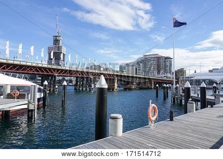wooden walkway and view at the Darling Harbour taken in Sydney, Australia on 4 July 2016