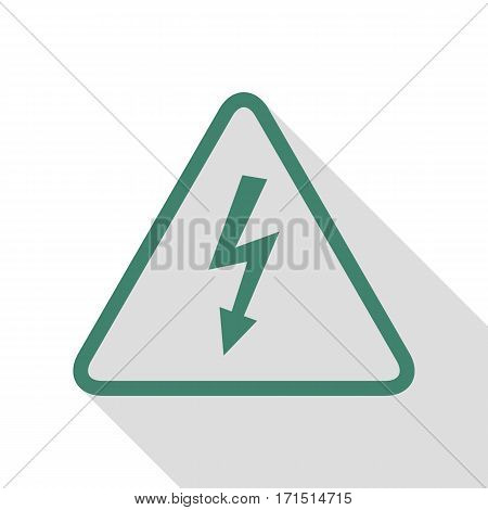High voltage danger sign. Veridian icon with flat style shadow path.