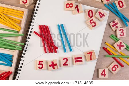Educational Kids Math Toy Wooden Board Stick Game Counting Set In Kids Math Class Kindergarten. Math