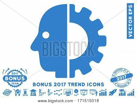Cobalt Cyborg Head pictograph with bonus 2017 trend elements. Vector illustration style is flat iconic symbols white background.