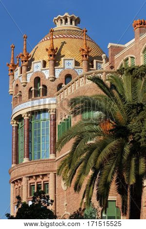 BARCELONA, SPAIN - JANUARY 9, 2013: One of buildings of the Hospital de la Santa Creu i Sant Pau. Built between 1901 and 1930 by design of Lluis Domenech i Montaner, it's UNESCO World Heritage site