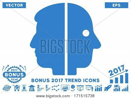 Cobalt Dual Face pictograph with bonus 2017 trend design elements. Vector illustration style is flat iconic symbols white background.