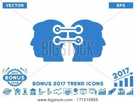 Cobalt Dual Heads Interface Connection pictograph with bonus 2017 trend icon set. Vector illustration style is flat iconic symbols white background.