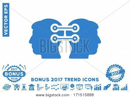 Cobalt Dual Heads Interface Connection icon with bonus 2017 trend icon set. Vector illustration style is flat iconic symbols white background.