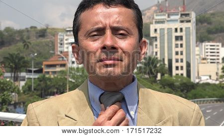 Business Man Grooming Himself, Hispanic Politician, Lawyer or Attorney