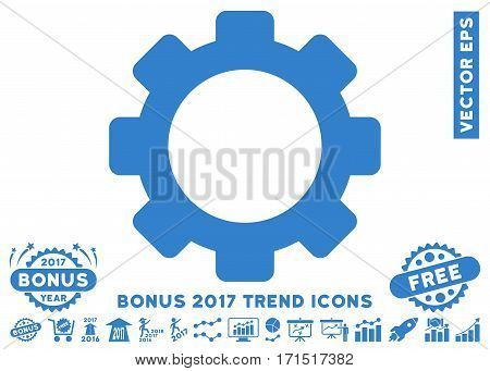 Cobalt Gear pictograph with bonus 2017 trend pictograph collection. Vector illustration style is flat iconic symbols white background.