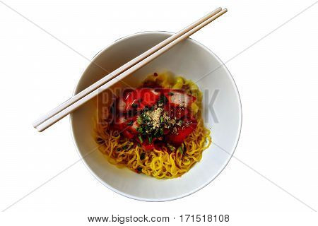 Popular asia dry noodle with roasted pork and dumpling isolated on white background with clipping path.