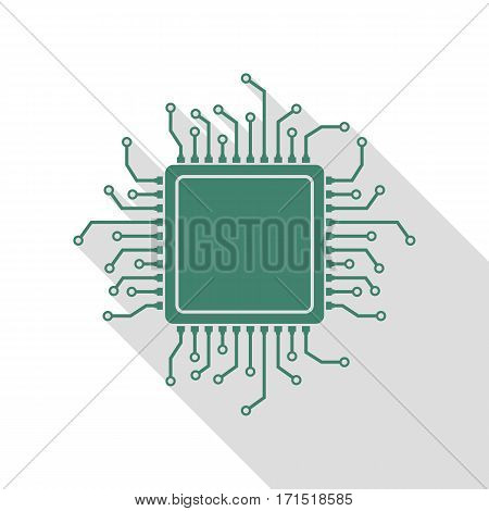 CPU Microprocessor illustration. Veridian icon with flat style shadow path.