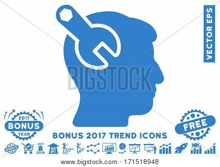 Cobalt Head Neurology Wrench pictogram with bonus 2017 trend icon set. Vector illustration style is flat iconic symbols white background.
