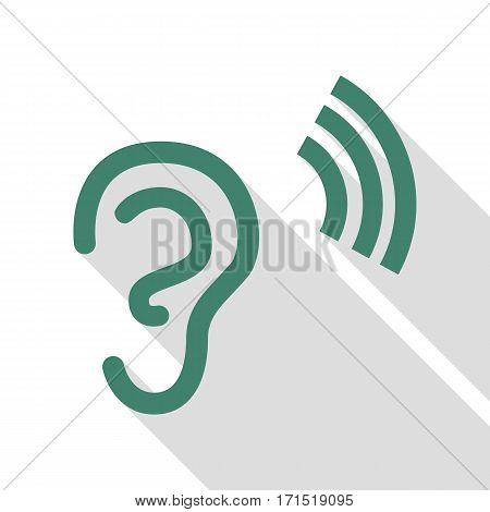 Human ear sign. Veridian icon with flat style shadow path.