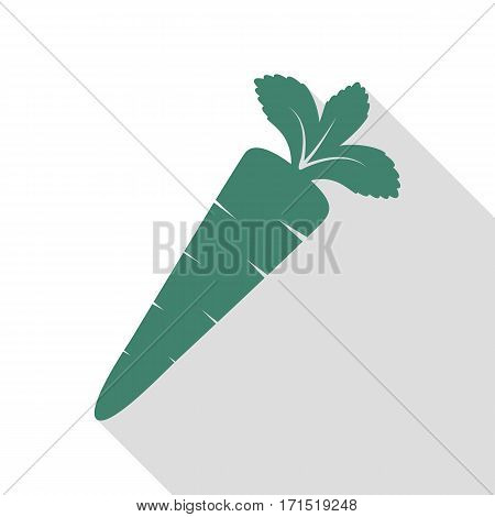 Carrot sign illustration. Veridian icon with flat style shadow path.