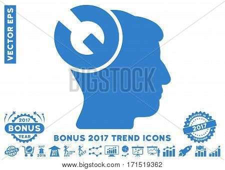 Cobalt Head Surgery Wrench icon with bonus 2017 trend elements. Vector illustration style is flat iconic symbols white background.
