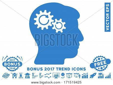 Cobalt Head Wheels Rotation pictogram with bonus 2017 year trend pictures. Vector illustration style is flat iconic symbols white background.