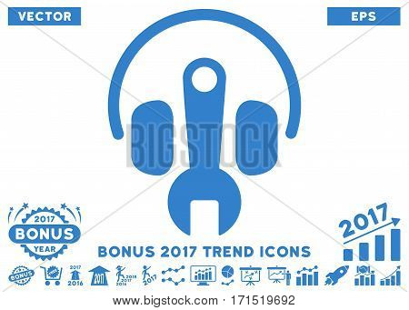 Cobalt Headphones Tuning Wrench pictograph with bonus 2017 trend pictograph collection. Vector illustration style is flat iconic symbols white background.