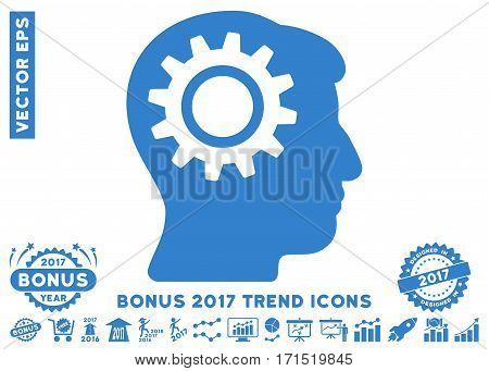 Cobalt Intellect Gear pictogram with bonus 2017 year trend design elements. Vector illustration style is flat iconic symbols white background.