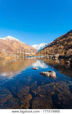 Langtang Himalayas Mountain Range Frozen Pond V